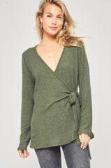 Olive Brushed Knit Wrap Top (SDB265)