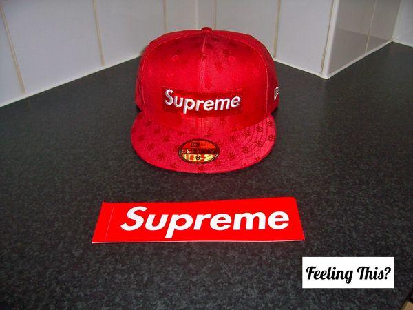 Supreme Monogram Cap Red - Feeling This   cfd5860cc314