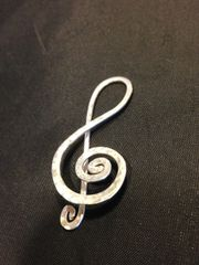 Handmade Silver Spiral Treble Clef, Heirloom Quality