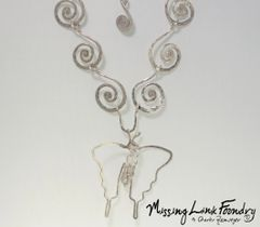 Handmade Silver Spiral Necklace with Flutterby Crystal Pendant