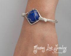 Silver Spiral Bracelet with Lapis Lazuli