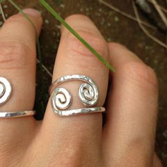 Sterling Double Inward Spiral Ring with Custom Variation