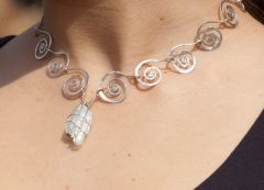 Silver Spiral Necklace with Natural Uncut City Scape Aquamarine Gemstone