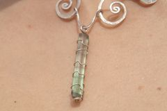 Silver Cosmic Spiral Necklace with Natural Uncut Half & Half Water-Melon Tourmaline Gemstone