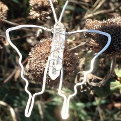Silver Cosmic FlutterBy Crystal Pendant