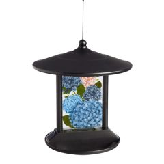 Garden Hydrangea in Bloom Solar Hanging Bird Feeder