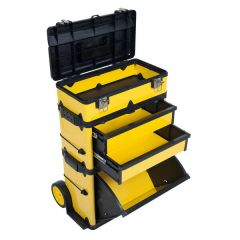 Yellow Deluxe Rolling 33-inch Steel Tool Box Trolley