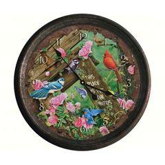 Vintage Tin Wall Clock Song Birds Design