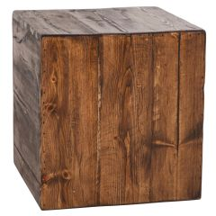 USA-Made Rustic Cube Accent Stool / Side Table
