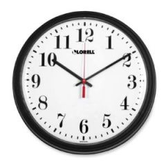 13-1/4 Wall Clock with Arabic Numerals, Black Frame