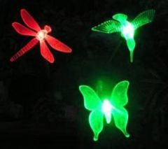 Solar Powered Outdoor Hummingbird, Butterfly & Dragonfly Solar Garden Stake Light-
