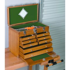 Wood Tool Cabinet plus an add on 8 Drawer Storage Cabinet