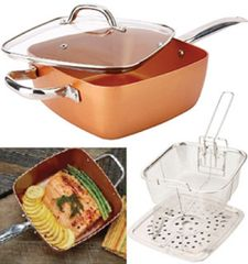 4-pc Square Copper Cookware Pan Set