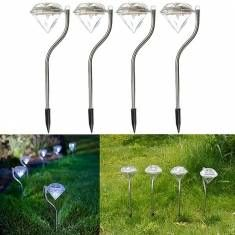 4pcs Diamond Solar Led Color Changing Lamps