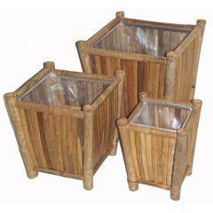 Bamboo Three-Piece Planter Set