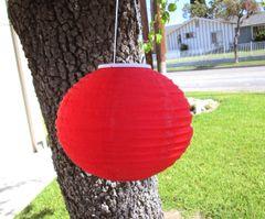 "Round Oval Hanging Lantern 9"" Solar Powered"