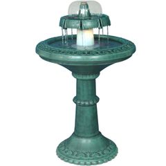 Durable Green Resin Fountain with Light