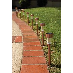 Solar Copper LED Path Lights - 10 Piece