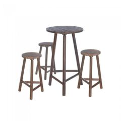 Wood Bar Table with Stools Set
