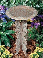 Copper Verdigris Butterfly Birdbath with Pedestal