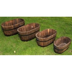Set of 4 Oval Wood Planters
