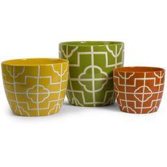 Ceramic Graphic Planters (Set of 3)