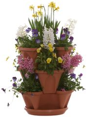 12-inch Stacking Planters with Flow through Watering System Hanging Chain