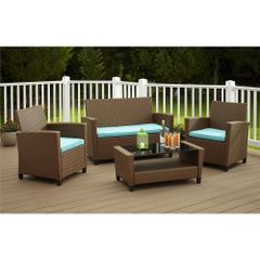 Outdoor Malmo Contemporary 4-piece Resin Wicker Conversation Set