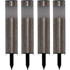 Stainless Steel Pillar Tube Solar Lights (Set of 4)