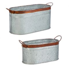 Galvanized Metal Planters with Handles, Set of 2