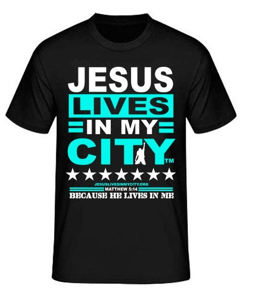 """Jesus Lives In My City """"HE Lives In Me"""" Short Sleeve Shirt JLIMC - BLUE"""