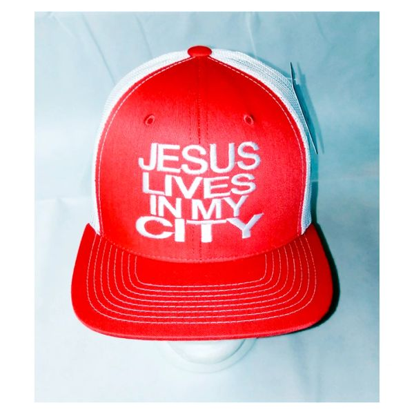 JESUS LIVES IN MY CITY RED WITH WHITE MESH TKR SNAPBACK CAP