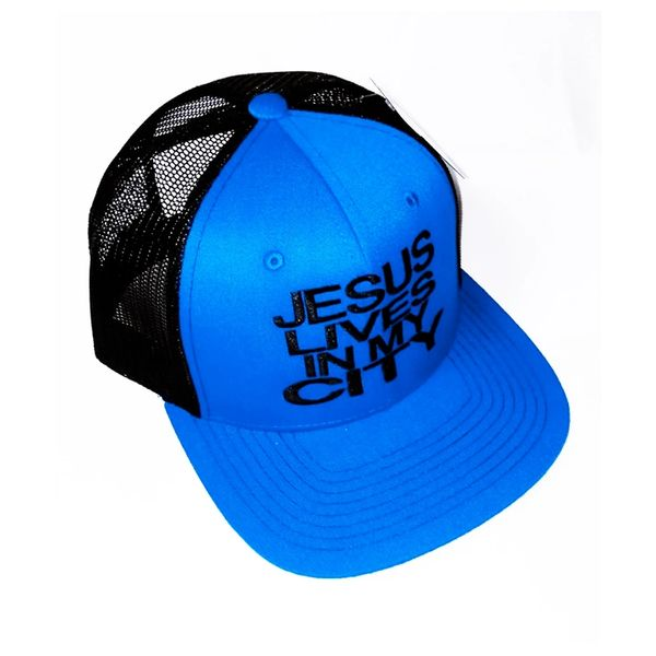 JESUS LIVES IN MY CITY BLUE W BLACK MESH EMBROIDERED SNAPBACK HAT CAP
