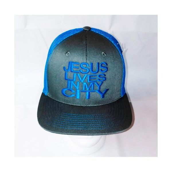 JESUS LIVES IN MY CITY GRAY WITH BLUE EMBROIDERY MESH SNAPBACK HAT CAP