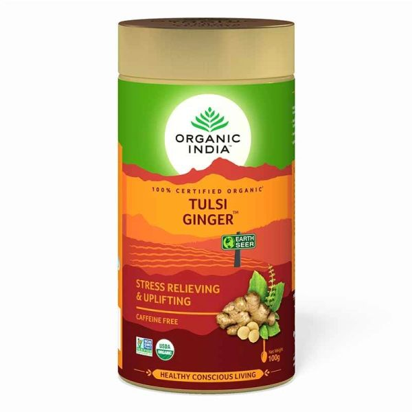 ORGANIC INDIA TULSI GINGER 100 GRAM TIN
