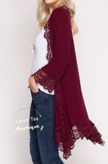 Wine Lace Trimmed Cardigan