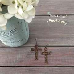 Leopard Cross Earrings