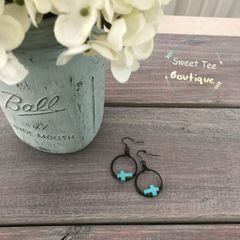 Black Hoop Turquoise Cross Earrings