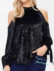 Black Crushed Velvet Cold Shoulder Top
