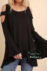 Black Cold Shoulder Bell Sleeve Top