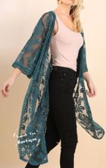 Teal Lace Kimono