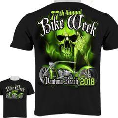 2018 Bike Week Daytona Beach Green Skull and Biker Babe