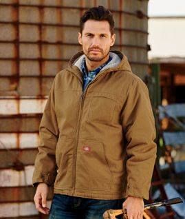 704098dceeaf TJ350 Dickies Adult Sanded Duck Sherpa-Lined Hooded Jacket ...