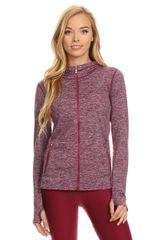 Women's/Ladies Seamless Active Living Jacket with Hoodie WINE RED