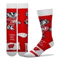 Wisconsin Badgers LETS GO UW Flag Series Socks Large 505-7