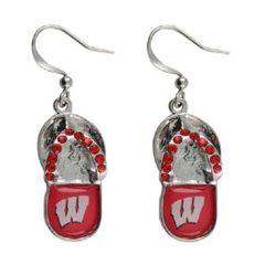 Wisconsin Badgers Flip Flop Earrings NCAA