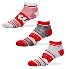 Wisconsin Badgers TriPlex Heathered 3 Pack No show Socks Large