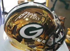 Green Bay Packers Davante Adams Autographed Chrome Mini Helmet #1