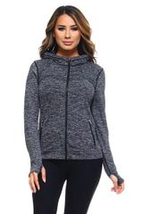 Women's/Ladies Seamless Active Living Jacket with Hoodie CHARCOAL