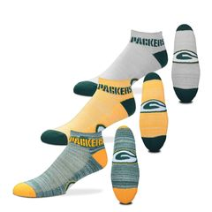 FOR BARE FEET GREEN BAY PACKERS $100 RMC GRID HEATHERED 3 PACK MEDIUM